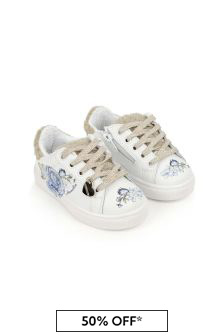 Girls White/Blue Rose Leather Trainers