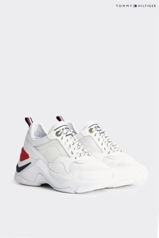 Tommy Hilfiger White Internal Wedge Chunky Trainers