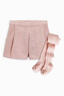 Tweed Shorts And Tights Set (3mths-6yrs)