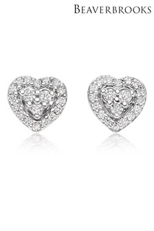 Beaverbrooks 9ct White Gold Diamond Heart Earrings