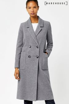 Warehouse Grey Silk Mix Long Line Crombie Coat