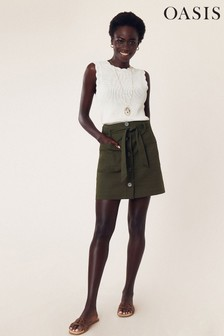 Oasis Green Patch Pocket Button Skirt