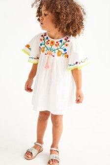 Organic Cotton Embroidered Kaftan Dress (3mths-7yrs)
