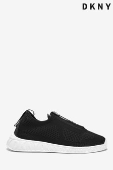 DKNY Black Slip-On Zip Logo Melissa Trainers