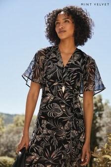 Mint Velvet Black Bella Print Ruched Dress