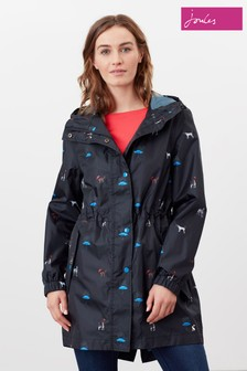 Joules Black Golightly Printed Packaway Waterproof Jacket