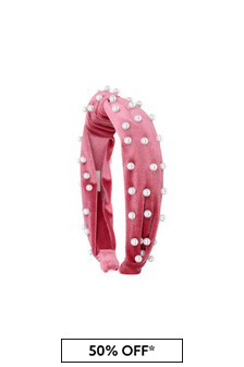 Girls Pink Velvet & Pearl Headband