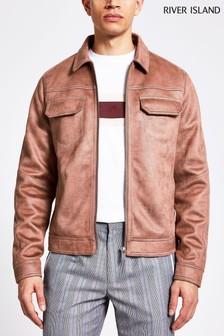 River Island Pink Mottled Suedette Western Jacket