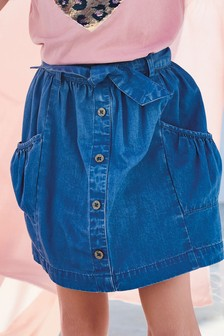 Tie Belt Denim Skirt (3-16yrs)
