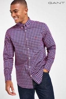 GANT Red Oxford Striped Gingham Regular Shirt