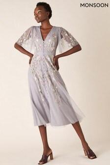 Monsoon Grey Natalia Embellished Tea Dress