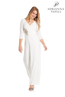 Adrianna Papell White Shirred Jersey Jumpsuit