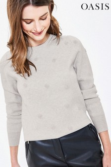 Oasis Grey Textured Spot Knit Jumper