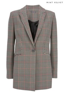 Mint Velvet White Check Longline Jacket