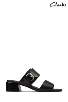 Clarks Black Leather Landra35 Mule Sandals