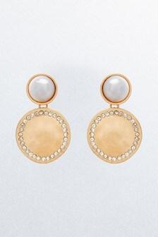 Pearl Effect Disc Drop Earrings