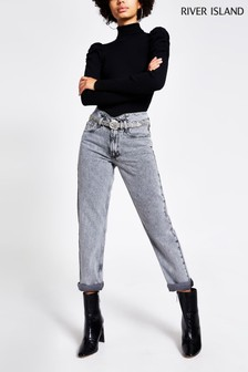 River Island Acid Mom Emilo Jeans, Grau