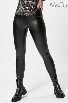 M&Co Black Faux Leather Leggings