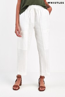 Whistles White Linen Cargo Trousers