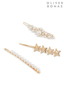 Oliver Bonas Nora Star & Faux Pearl Hair Grips Pack of Three