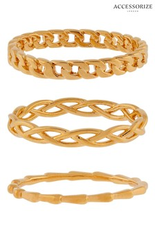 Accessorize Gold-Plated Chain Ring Set
