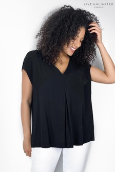 Live Unlimited Black Pleat Front Blouse