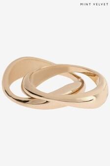 Mint Velvet Gold Tone Molten Double Ring Set