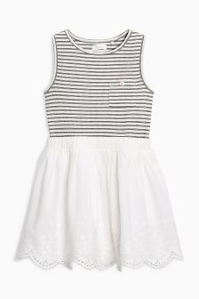 Stripe Broderie Two Part Dress (3mths-6yrs)