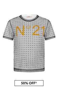 N°21 Girls White Embellished T-Shirt