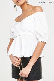 River Island White Natalie Wench Top