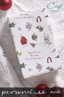 Personalised Penguin And Polar Bear Wrapping Paper by Croft Designs