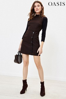 Oasis Brown Puppytooth Check Button Shift Dress
