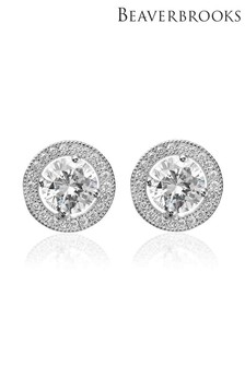 Beaverbrooks Silver Cubic Zirconia Halo Stud Earrings