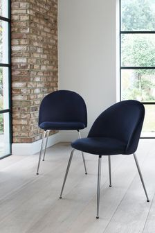 Set of 2 Iva Dining Chairs With Chrome Legs