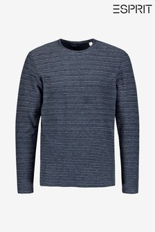 Esprit Blue Structure Crew Neck Long Sleeve Top