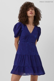 French Connection Blue Calandra Crinkle Puff Dress