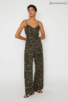 Warehouse Green Leopard Print Jumpsuit