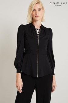 Damsel In A Dress Black Lucana Zip Front Top