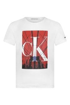 Calvin Klein Jeans Boys White Cotton City Logo T-Shirt