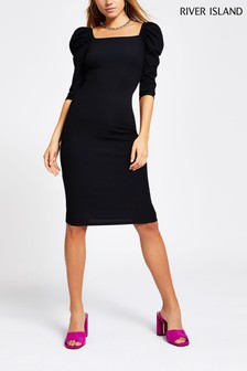 River Island Black Poppy Puff Sleeve Dress
