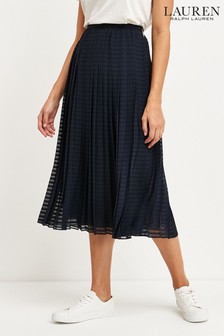Lauren Ralph Lauren® Navy Self Stripe Bodil Pleated Skirt