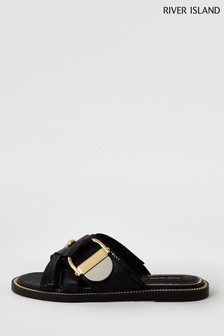 River Island Black Hardware Flat Sandals