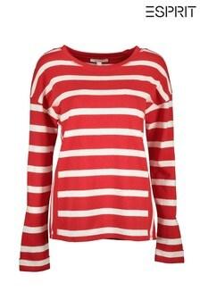 Esprit Long Sleeved Striped Sweatshirt With Round Neck