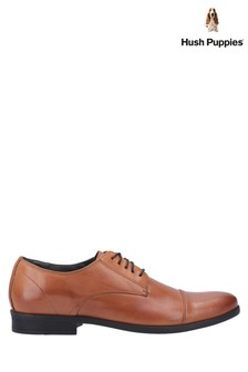 Hush Puppies Brown Ollie Cap Toe Lace-Up Shoes