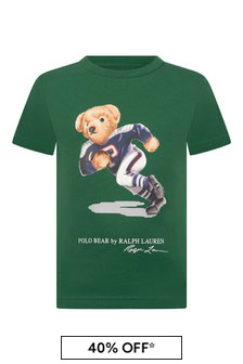 Boys Green Cotton Jersey Bear T-Shirt