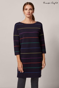 Phase Eight Blue Savannah Stripe Ripple Dress