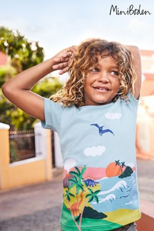 Mini Boden Blue Tropical Scene T-Shirt