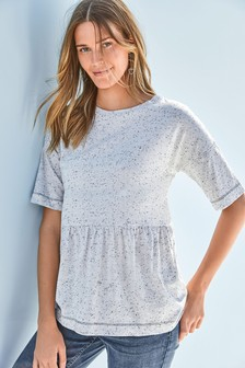 Tiered Short Sleeve Neppy Top