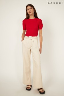 Warehouse Red Stitched Puff Sleeve Top