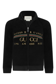 Baby Black Chenille Embroidered Logo Zip-Up Top